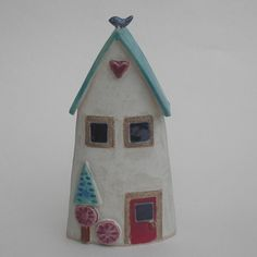 A handmade ceramic house inspired by the feeling of home as our sanctuary and escape from the outside world. Lovingly formed by hand from slabs of clay with impressed and applied decoration. Art Houses, Clay Houses, Ceramic Houses, Ceramic Figures, Miniature Houses, Clay Tiles, Ceramic Clay, Ceramic Painting, Ceramic Pottery