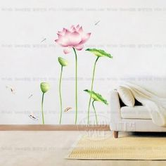 Wisedeal Lotus Flower and Dragonfly Nursery Kids Room Removable Quote Vinyl Wall Decals Stickers