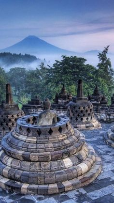 Borobudur, or Barabudur is a 9th-century Mahayana Buddhist temple in Magelang, Central Java, Indonesia, as well as the world's largest Buddhist temple, and also one of the greatest Buddhist monuments in the world.