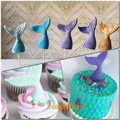 6 Little Mermaid Tail Edible Fish cake cupcake shimmer topper fondant Birthday  | eBay