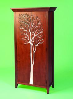 """Tree Cabinet  36"""" W x 72""""H x 14"""" D   Western Maple, Maple Veneer, Plexiglass, Lights"""