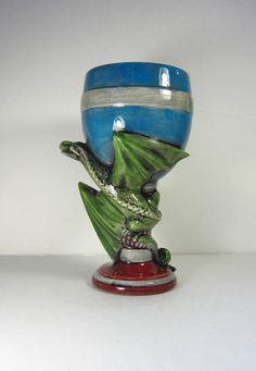 Ceramic Dragon Goblet or Glass 8 inches hand by aarceramics