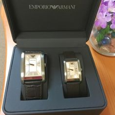 Emporio Armani Silver watch set A 100 % authentic. Brand new with tag. Comes with box and booklet. Rectangle shape. Leather band. Stainless steel case.   HOLD. TRADE  CHEAPER @ Ⓜ️ Emporio Armani Accessories Watches