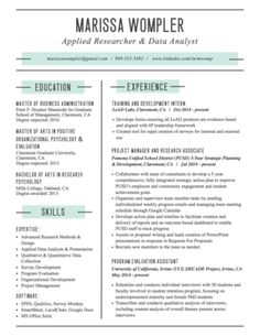 Graphic Resume Sample For Program Analyst  Graphic Design