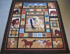 Roberta's Custom Quilting: Horse Applique Quilt.  Close ups of blocks and quilting.