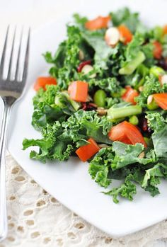 Kale & Edamame Salad  8 Easy Lunch Salad Recipes that taste great and will have your energy on high all day!