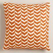 Orange Embroidered Geometric Throw Pillow