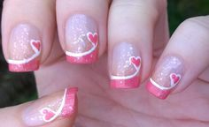 Nail Designs for Valentines Day Luxury French Manicure Ideas 4 Valentine S Day P. - Nail Designs for Valentines Day Luxury French Manicure Ideas 4 Valentine S Day Pink Tip Nails - Valentine's Day Nail Designs, Fingernail Designs, Nails Design, Heart Nail Designs, Pedicure Designs, Makeup Designs, Pink Tip Nails, Glitter Nails, Pink Glitter