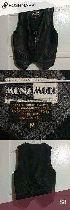 Black Leather Biker Vest Vest has silver zipper down the front and tie back. Back side is material. Says it's a medium but runs a little smaller. Mona Mode Other
