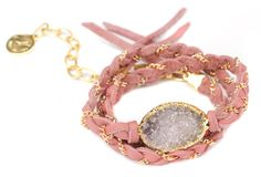 Cordelia White Druzy Gold Bracelet - Pink