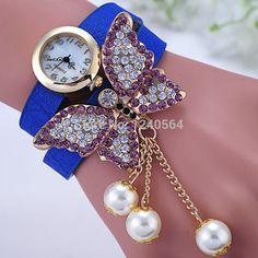 Aliexpress.com: Comprar ¡ venta caliente del envío perla colgantes Rhinestone pulseras brazaletes de la mariposa mujeres reloj de moda relojes de pulsera Casual de deporte relojes Suunto fiable proveedores en W R S ONLINE
