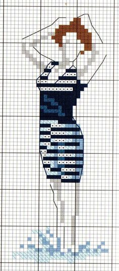 Lady in Bathing Suit Cross Stitch Sea, Cross Stitch Bookmarks, Diy Embroidery, Cross Stitch Embroidery, Cross Stitch Designs, Cross Stitch Patterns, Hand Sewn Crafts, Retro Typewriter, Cross Stitching