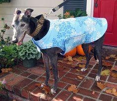 Greyhound Dog Coat, Blue, & White Snowflake Print Fleece with Blue Fleece Lining  www.TheThimbleAndHound.com
