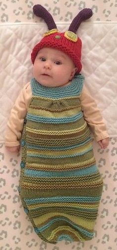 Baby Cocoon, Snuggly, Sleep Sack, Wrap Knitting Patterns : Knitting pattern for hungry caterpillar cocoon and hat Baby Knitting Free, Knitting For Kids, Easy Knitting, Knitting Projects, Knitting Sweaters, Baby Sweaters, Knitting Needles, Knitting Yarn, Baby Patterns