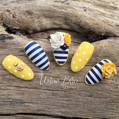 Nautical nails yellow and blue Stiletto Nail Art, Acrylic Nail Art, Gel Nail Art, Nautical Nail Art, Nails Yellow, Sea Nails, Nails 2018, Nail Decorations, Flower Nails