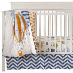 Room Hot Air Balloon Crib Bedding Set - love the hot air balloons, little boy colors & great chevron print