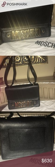 Moschino handbag Fabulous!!!! Black top grain pebbled leather. Like new!!!! A statement bag. Moschino Bags Shoulder Bags