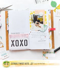 Citrus Twist Kits: Travel Notebook Using Scrapbook Sep Main Kit With Evelyn