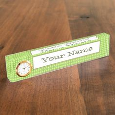 desk name plate #desknameplate Green and brown plaid pattern. Collage with your favorite photos. Add name or custom text. Click on the product to customize it.  #POD #artwork #giftideas #zazzle #gifts #unique #stylish #photos #photography #plaid #grid #green #collage #white #border #frame #three #memory #name #monogram #text #brown #pattern #nostalgia