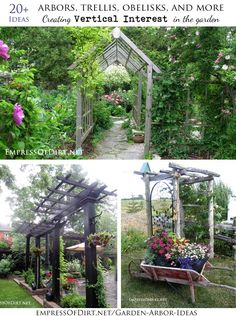 Arbors, trellis, obelisks, and more. Ideas for adding vertical interest to your garden at http://www.empressofdirt.net/garden-arbor-ideas