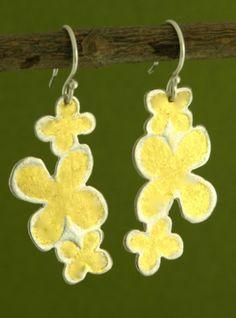 Three Golden Hydrangeas Earrings
