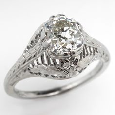 Antique 1.5 Carat Old Mine Cut Diamond Engagement Ring 18K White Gold 1920's