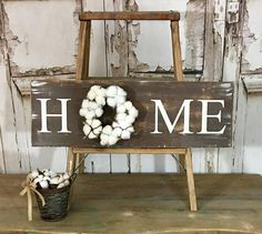 HOME sign with wreath Distresssed Sign with Wreath Cotton
