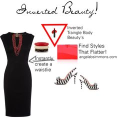 Finding styles that flatter the Inverted Triangle Body Beauty! by typology on Polyvore featuring Karen Millen, Kate Spade, Rosantica, Kenneth Jay Lane, Temptu and Gucci