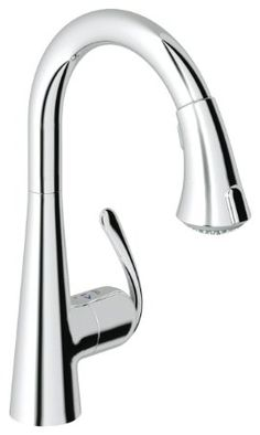 Grohe 32298000 LadyLux3 Pull-Down Spray Kitchen Faucet with Forward Rotation Lever, SilkMove Ca, Starlight Chrome