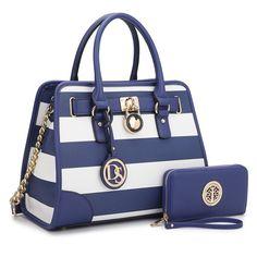 Designer Padlock Striped Shoulder – Striped Royal Blue/White + Matching Wallet – – Women's Bags, Satchel Bags Designer Textured Faux Leather Small Shoulder Bag For Women – Cheap Purses, Cheap Handbags, Cute Purses, Prada Handbags, Handbags On Sale, Handbags Michael Kors, Luxury Handbags, Fashion Handbags, Purses And Handbags