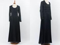1857c301 70s Maxi Dress, Black Maxi Dress, Seventies Vintage Dress, Pleated Skirt,  Wide