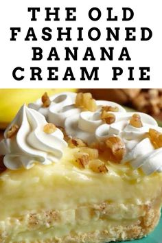 This version worked well, but a deep, evil part of me likes a little fake banana flavor in the pie, so I used banana flavoring in it. Banana Pie, Banana Pudding, Old Fashioned Banana Cream Pie Recipe, Vanilla Wafer Crust, My Favorite Food, Favorite Recipes, Cream Pie Recipes, Zoodle Recipes