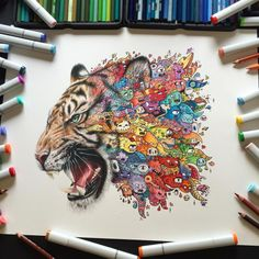 Tiger Doodle by Vexx Art Visit my blog for more Illustration and Art