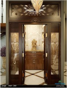New pooja room door design 19 Ideas Living Room Partition Design, Room Partition Designs, Glass Partition, Temple Room, Temple Design For Home, Mandir Design, Pooja Room Door Design, Puja Room, False Ceiling Design