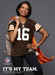 First, she is accepted into the Augusta National Golf Club, now she is a Browns' fan. Ummmm, still not sure why she likes the Browns.  Love it! Condoleezza Rice Models Cleveland Browns Jersey in NFL Ad | Adweek