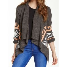 Romeo + Juliet Couture Aztec print cardigan. Super comfy Romeo + Juliet Couture Aztec print sweater cardigan.  Brand new, with tags. Color: iron/peach/ivory. Sorry no trades. Size small. Romeo & Juliet Couture Sweaters Cardigans
