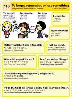 한국어- to forget, remember, or lose something