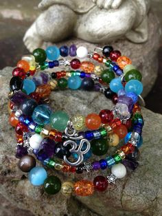 Chakra Bling: five wrap memory wire beaded bracelet on Etsy, $40.00