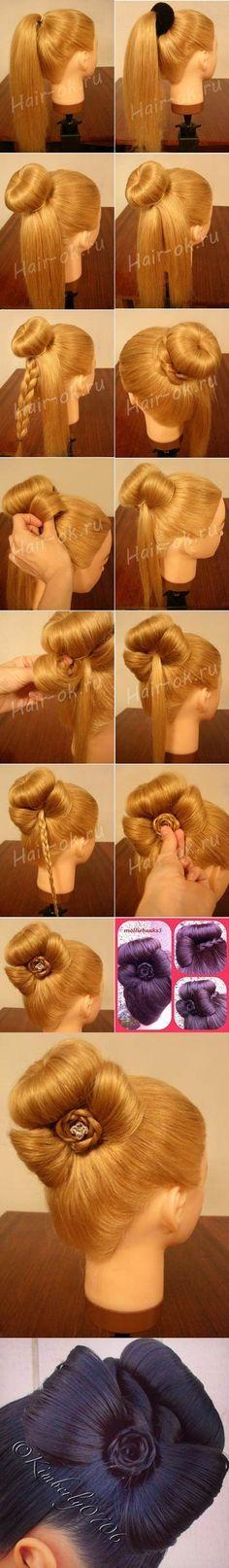DIY Elegant Bun Decorated with a Bow   iCreativeIdeas.com Like Us on Facebook ==> https://www.facebook.com/icreativeideas