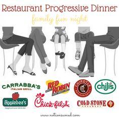 Restaurant Progressive Dinner...a super fun family night! 2 Free printable games, plus ideas!