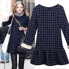 Wholesale Casual Dress - Buy New Arrival Women's O Neck Long Sleeves A Line Ruffles Plaid Patchwork Street Style Fashion Autumn Dresses, $28...