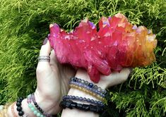 Crystal Goddess Presents !!!!! THE LARGEST AND BEST CRYSTALS ON ETSY Large 4 Lb. 8 oz. ~ Angel Aura Quartz Crystal Cluster ~ 7 Long ~ Electric Orange, Yellow & Red ~ Rainbow Iridescent Colors ~ Sparkly Points~ Fast & Free Shipping + Free Gift + Gift Wrap Angel Aura Quartz Lights up like a flame