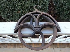Vintage Cast Iron Well Pulley Antique Old Farm Wheel Barn