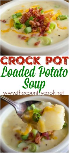 Crock Pot Loaded Baked Potato Soup recipe from The Country Cook - Crockpot Recipes Slow Cooker Potato Soup, Crock Pot Slow Cooker, Crock Pot Cooking, Slow Cooker Recipes, Crockpot Recipes, Cooking Recipes, Crock Pot Potato Soup, Loaded Potato Soup, Gourmet