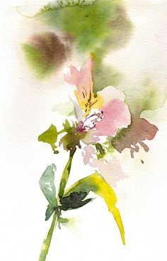 Abstract Florals Original Watercolor Painting Alstroemeria Painting Modern Watercolour Wall Art Color theme: pink, green  One of a Kind Art Watercolour Art Piece  Size: 5.5x8.5 (14x21.5 cm)  Medium: top branded watercolor paints on Canson Montval water color cold press paper 140 lb (300g)  Signed front and back Dated on the back. Not framed.  All paintings are gift wrapped in a cellophane insert and cardboard support to best protect, shipped by Registered International Mail with tracking…