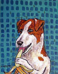jack russell terrier banana signed art PRINT abstract folk pop ART JSCHMETZ dog