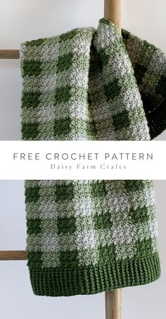 Free Pattern - Crochet Green Gingham Blanket I've designed and made another gingham blanket. I guess I can't help myself. This is number And honestly,… Crochet Afghans, Afghan Crochet Patterns, Baby Blanket Crochet, Crochet Stitches, Knitting Patterns, Crochet Blankets, Dishcloth Crochet, Crochet Daisy, Knit Or Crochet