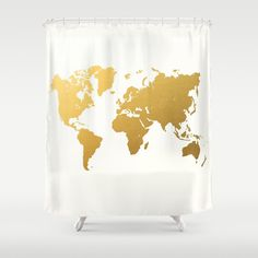 Gold World Map Shower Curtain by Samantha Ranlet