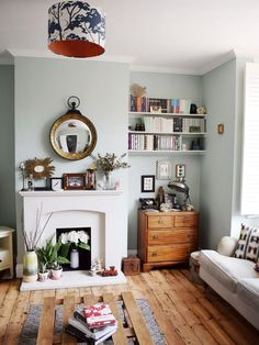 Paint: Teresa's Green by Farrow & Ball // mint walls in living room