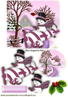 SNOWMAN IN PINK PLANE WITH COTTAGE AND SNOW, Makes a cute christmas card, extra small one for insert